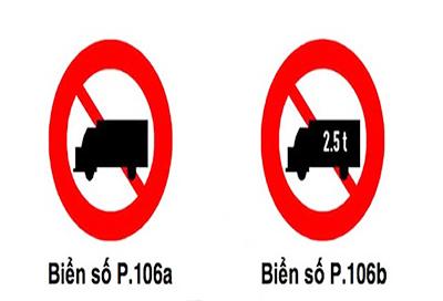 phân loại biển cấm xe tải