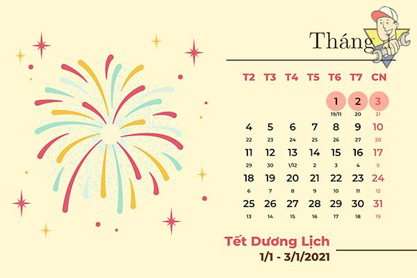 tết dương lịch 2021 được nghỉ mấy ngày