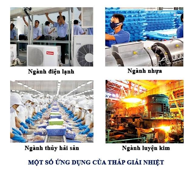 Tháp giải nhiệt cũng được ứng dụng nhiều trong các ngành công nghiệp khác nhau