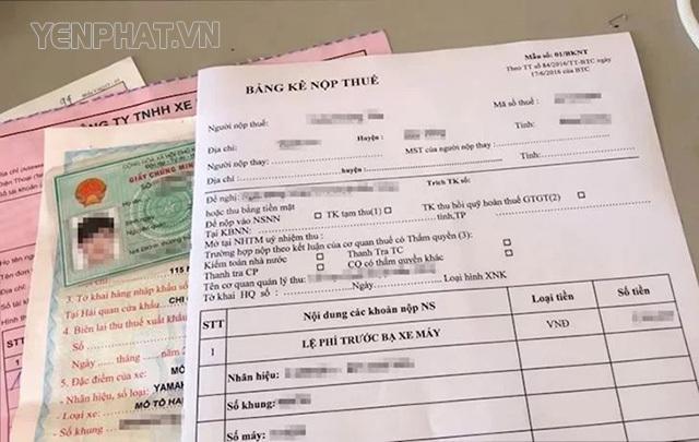đóng thuế trước bạ xe máy